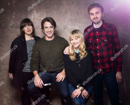 "Stock Photo of From left, composer Heather McIntosh, actor Dermot Mulroney, actress Lindsay Pulsipher and actor Calvin Reeder from the film ""The Rambler"" pose for a portrait during the 2013 Sundance Film Festival at the Fender Music Lodge on in Park City, Utah"