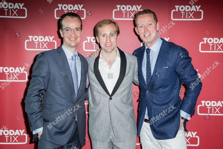 From left, HM Consul General Danny Lopez, TodayTix founder Merritt Baer and Gregory Barker pose for photographers upon arrival at the TodayTix Launch Party in London