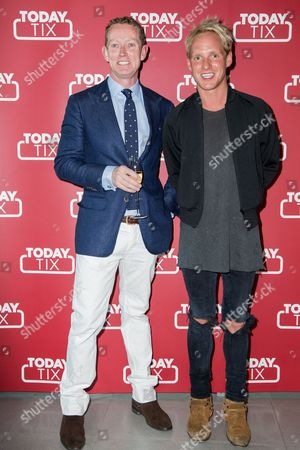 Gregory Barker and Jamie Laing pose for photographers upon arrival at the TodayTix Launch Party in London