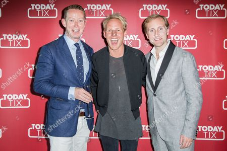 Gregory Barker, Jamie Laing and TodayTix founder Merritt Baer pose for photographers upon arrival at the TodayTix Launch Party in London