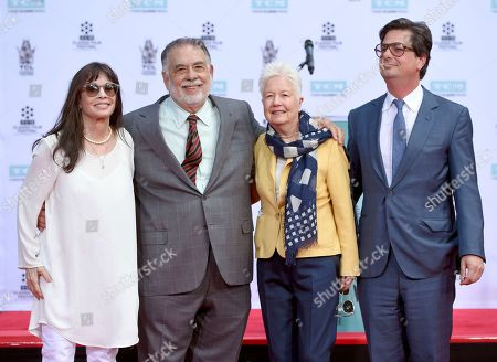 Talia Shire, from left, honoree Francis Ford Coppola, Eleanor Coppola and Roman Coppola pose during a handprint and footprint ceremony at the TCL Chinese Theater, in Los Angeles
