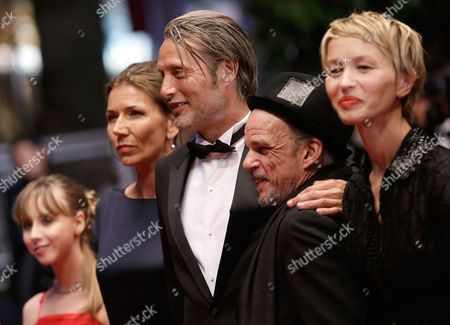 From left, actress Melusine Mayance, Mads Mikkelsen's wife Hanne Jacobsen, actors Mads Mikkelsen, Delphine Chuillot and Denis Lavant arrive for the screening of Michael Kohlhaas at the 66th international film festival, in Cannes, southern France