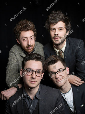 From left, Jeff Apruzzese, Michael Angelakos, Ian Hultquist and Nathan Donmoyer, of the American indie rock band Passion Pit, pose for a portrait, on in New York