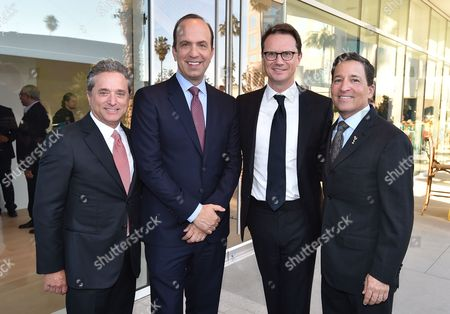 Rick Rosen, Founding Member/Head of Television, WME, from left, ABC's Ben Sherwood, Fox's Peter Rice and Bruce Rosenblum, Television Academy Chairman and CEO, attend the Television Academy's 70th Anniversary Gala and Opening Celebration for its new Saban Media Center, in the NoHo Arts District in Los Angeles