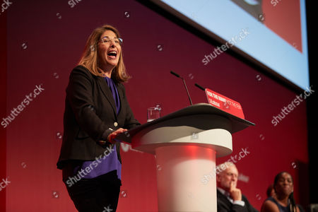 Naomi Klein (L) guest speaker for the afternoon session and Jeremy Corbyn (R) at the Labour Party Conference, Brighton, UK.