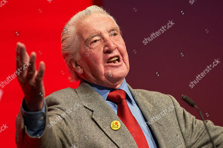 Dennis Skinner speaks at the morning session for Economy at the Labour Party Conference, Brighton, UK.