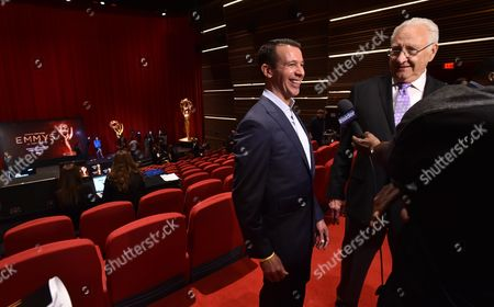 Stock Image of Charlie Haykel, left, and Don Mischer speak at the 68th Emmy nominations announcement at the Television Academy's Saban Media Center on in the NoHo Arts District in Los Angeles