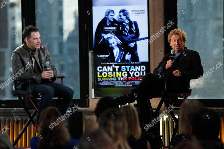 """Joe Levy, left, and Andy Summers, right, participate in AOL's BUILD Speaker Series to discuss the new documentary """"Can't Stand Losing You"""" at AOL Studios, in New York"""