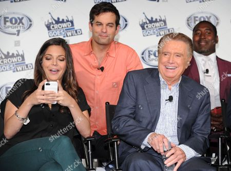 """Co-hosts of the new FOX Sports 1 talk show """"Crowd Goes W!ld"""", from left, Katie Nolan, Michael Kosta, Regis Philbin and Trevor Pryce participate in a press conference on in New York"""
