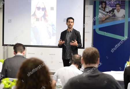 Fullscreen founder and CEO George Strompolos speaking at the Fullscreen Press Breakfast at Fullscreen offices, in New York