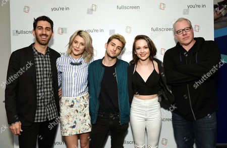 Fullscreen founder and CEO George Strompolos, left, actress Grace Helbig, YouTube personality Issa and talk host Alexis G. Zall and screenwriter Bret Easton Ellis at the Fullscreen Press Breakfast at Fullscreen offices, in New York