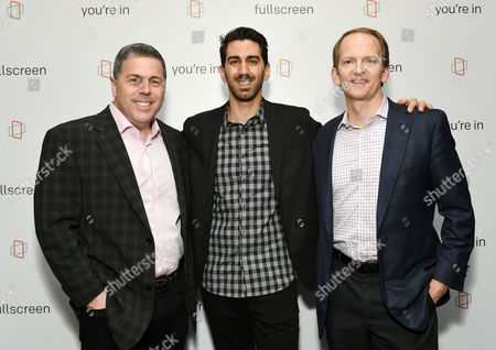 Fullscreen COO Andy Forssell, left, Fullscreen founder and CEO George Strompolos and AT&T Mobility chief marketing officer David Christopher attend the Fullscreen Press Breakfast at Fullscreen offices, in New York
