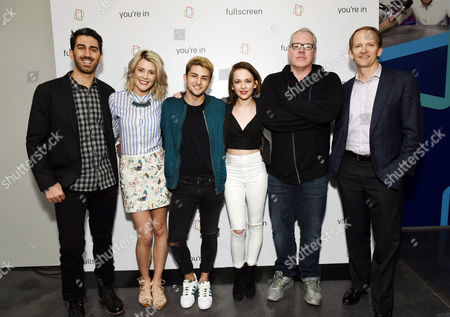 Fullscreen founder and CEO George Strompolos, left, actress Grace Helbig, YouTube personality Issa and talk host Alexis G. Zall, screenwriter Bret Easton Ellis and AT&T Mobility chief marketing officer David Christopher attend the Fullscreen Press Breakfast at Fullscreen offices, in New York