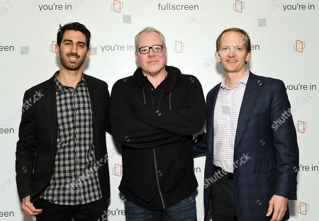 Fullscreen founder and CEO George Strompolos, left, screenwriter Bret Easton Ellis and AT&T Mobility chief marketing officer David Christopher attend the Fullscreen Press Breakfast at Fullscreen offices, in New York