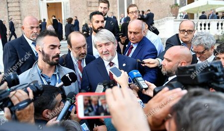 Stock Photo of Italian Labour minister Giuliano Poletti speaks with journalists during the G7 Labour and Employment ministerial meeting at Venaria Palace in Turin, Italy, 29 September 2017.