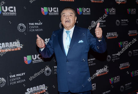 """Television personality Mario Kreutzberger, aka Don Francisco, arrives at an event to be honored by The Univision Network & The Paley Center for Media, for his contributions in broadcasting while hosting the """"Sabado Gigante"""" variety show, in New York"""