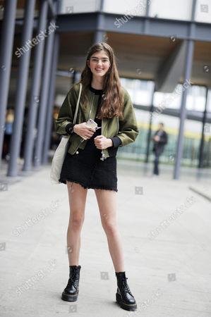 Stock Picture of Model Skylar Tartz Carven Street Style