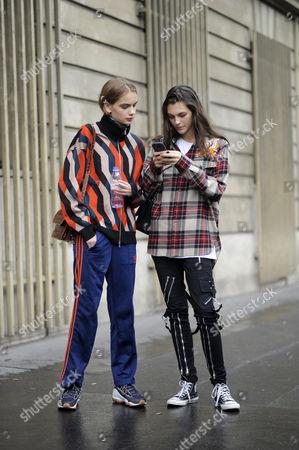 Models Nina Marker and Vittoria Ceretti Chloe Street Style