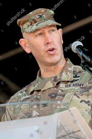 US Lieutenant Colonel David Gardner speaks during the ceremony linked with the exchange of shifts by US units stationed in Poland within the Atlantic Resolve Operation at the General Maczek Square in Zagan, south-western Poland, 29 September 2017. The outgoing unit - the so-called 'Iron Brigade' of the 4th Infantry Division from Fort Carson, Colorado will be replaced by the 2nd Armoured Brigade Combat Team of the 1st Infantry Division from Fort Riley, Kansas, known as the 'Dagger Brigade'. This is the first shift change of US troops securing the eastern NATO flank. Operation Atlantic Resolve is part of the US-initiated European Reassurance Initiative launched in response to Russia's 2014 annexation of Ukraine's Crimean Peninsula.