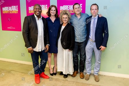 """Tituss Burguess, from left, Ellie Kemper, Carol Kane, Mike Carlsen, and Robert Carlock arrive at the """"Unbreakable Kimmy Schmidt"""" FYC event at UCB Sunset Theatre, in Los Angeles"""