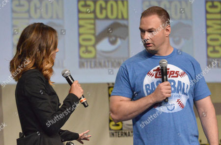 Jessica Chobot, left, and Legendary Pictures CEO Thomas Tull attend the Legendary Pictures panel on day 3 of Comic-Con International, in San Diego