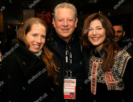 "Kristin Gore, left, co-writer and co-producer of ""War Story,"" poses with her father Al Gore and cast member and co-producer Catherine Keener at the premiere of the film at the 2014 Sundance Film Festival, in Park City, Utah"