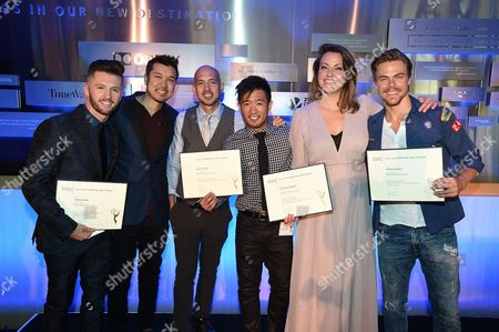 From left, Travis Wall, Brian Hirano, Joseph Lee, Steve Terada, Kathryn Burns and Derek Hough attend the 2016 Choreographers Nominee Reception presented by the Television Academy at the Academy's Saban Media Center, in the NoHo Arts District in Los Angeles