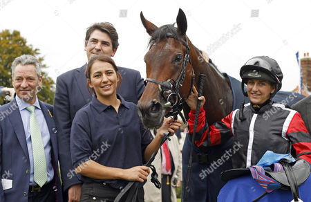 APPHIA (Josephine Gordon) with Hugo Palmer and Michael Hills after The Princess Royal Nayef Stakes Newmarket