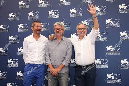 From left, producer Matthieu Tarot, director Christian Vincent, and actor Fabrice Luchini pose for photographers at the photo call for the film L'Hermine during the 72nd edition of the Venice Film Festival in Venice, Italy