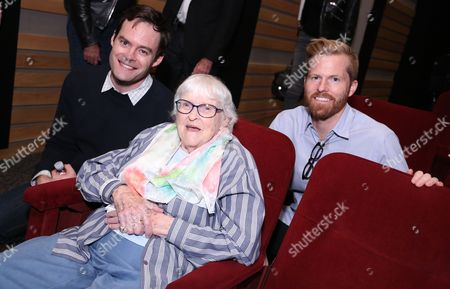 Bill Hader, from left, animator Ruthy Tompson and Alex Buono, director and executive producer, Documentary Now!, attend IFC and MPTF's Documentary Now! screening at the Directors Guild of America Theatre, in Los Angeles