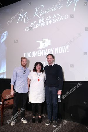 Alex Buono, director and executive producer, Documentary Now!, from left, Christine Lubrano, SVP, Original Programming, IFC, and Bill Hader pose at IFC and MPTF's Documentary Now! screening at the Directors Guild of America Theatre, in Los Angeles