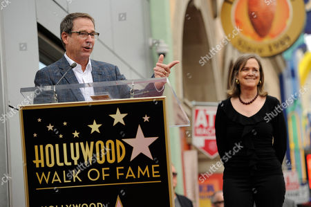Michael Joplin, left, brother of the late singer Janis Joplin, addresses the crowd as his sister Laura Joplin looks on at a ceremony honoring Joplin with a posthumous star on The Hollywood Walk of Fame on in Los Angeles
