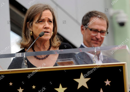 Laura Joplin, sister of the late singer Janis Joplin, addresses the crowd as her brother Michael Joplin looks on at a ceremony honoring Joplin with a posthumous star on The Hollywood Walk of Fame on in Los Angeles