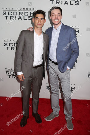 "Director Wes Ball, right, and Alexander Flores attend the premiere of ""Maze Runner: The Scorch Trials"" at the Regal Cinemas E-Walk, in New York"