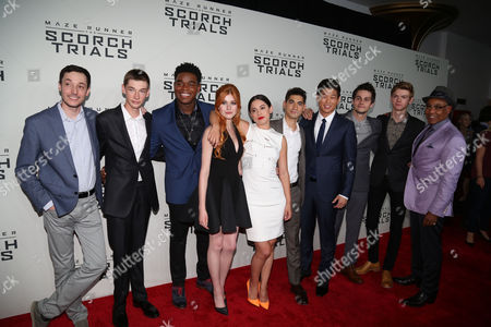 "From left, Wes Ball, Jacob Lofland, Dexter Darden, Katherine McNamara, Rosa Salazar, Alexander Flores, Ki Hong Lee, Dylan O'Brien, Thomas Brodie-Sangster and Giancarlo Esposito attend the premiere of ""Maze Runner: The Scorch Trials"" at the Regal Cinemas E-Walk, in New York"