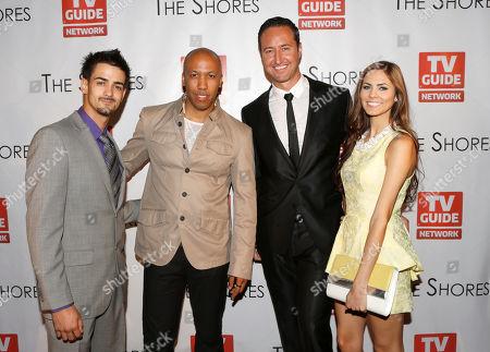 Toby Moniz, DJ Vikter Duplaix, Destiny Moniz, and Executive Producer Quinton Van Der Burgh attend The Shores Premiere Party at Dim Mak studios, in Los Angeles