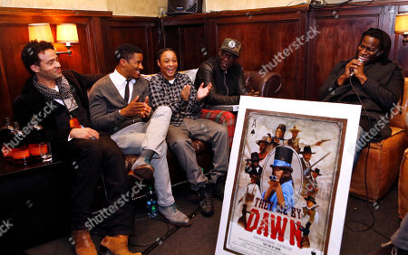 """From left, artist Jules Arthur, actors Nate Parker, Felicia Pearson and Michael K. Williams and director Jeymes Samuel participate in a Q & A session during the Bulleit Bourbon presents """"They Die By Dawn"""" film screening, in New York"""