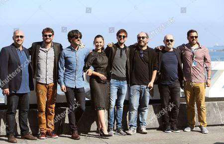 Spanish film director Borja Cobeaga (3-R), scriptwriter Diego San Jose (3-L), producer Javier Mendez (L) and cast members Gorka Otxoa (2-L), Miren Ibarguren (4-L), Javier Camara (2-R) and Julian Lopez during the presentation of the film 'Fe de Etarras' at the 65th annual San Sebastian International Film Festival, in San Sebastian, Spain, 29 September 2017. The film festival runs from 22 to 30 September.