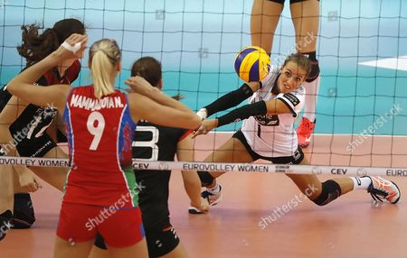 Lenka Duerr (R) of Germany in action during the 2017 CEV Volleyball Women European Championship quarterfinal match between Azerbaijan and Germany, in Baku, Azerbaijan, 29 September 2017.