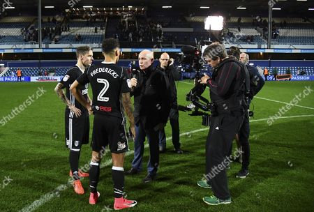 Ryan Fredericks and man of the match Stefan Johansen of Fulham are interviewed by Sky Sports David Craig at full time