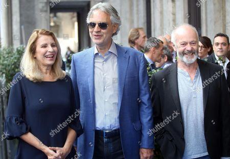 Stock Photo of Andrea Bocelli, Anna Pavignano and Michael Radford