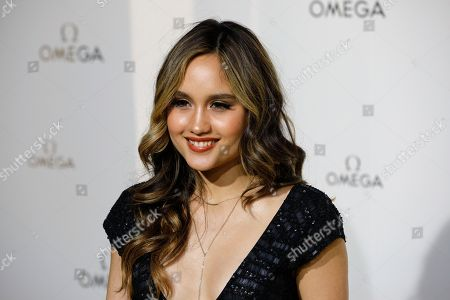 Stock Photo of Actress Cinta Laura Kiehl poses for photographers upon arrival at a party for Omega in Paris