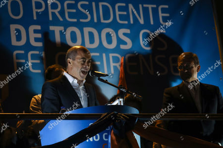 Portuguese Social Democratic Party (PSD) leader, Pedro Passos Coelho (R), flanked by the party candidate to Lixa townhall, Inácio Ribeiro (L), during an election campaign event in Lixa, Portugal, 29 September 2017. Portugal holds local elections on 01 October 2017.