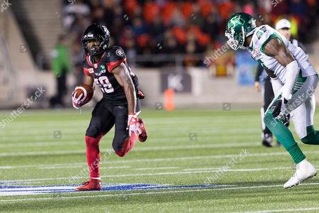 Ottawa Redblacks running back William Powell (29) rushes the ball during the CFL game between Saskatchewan Roughriders and Ottawa Redblacks at TD Place Stadium in Ottawa, Canada. Saskatchewan won the game 18-17 with a late rouge