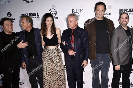"""Stock Photo of Jack Heller, Don Johnson, Jennifer Carpenter, Udo Kier, Vince Vaughn, S. Craig Zahler. Jack Heller, from left, Don Johnson, Jennifer Carpenter, Udo Kier, Vince Vaughn and S. Craig Zahler attend the LA premiere of """"Brawl in Cell Block 99"""" at the Egyptian Theatre, in Los Angeles"""
