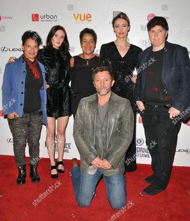 Rehana Khan, Denise Welch, Rebecca Calder, Deirdre Mullins, Linda Riley and Gary Love (front row kneeling)