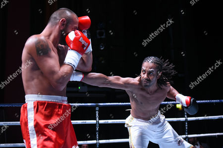 Dominic Felix (white shorts) draws with Daniel Borisov during a Boxing Show at The Deco on 29th September 2017