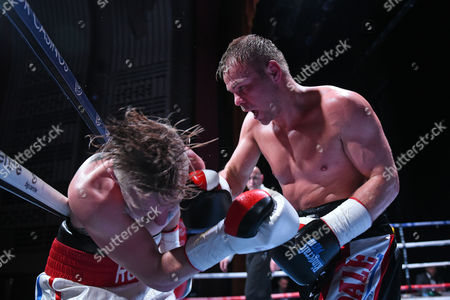 Jamie Spence (black shorts) defeats Liam Richards during a Boxing Show at The Deco on 29th September 2017