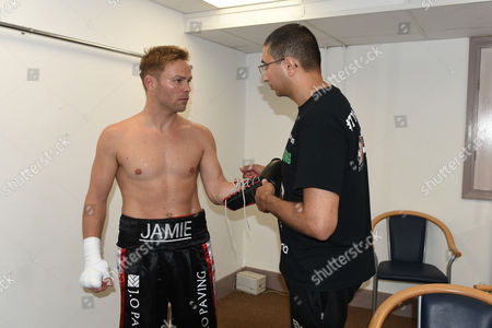 Jamie Spence (black shorts) prepares for his fight with Liam Richards during a Boxing Show at The Deco on 29th September 2017