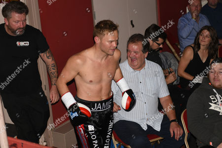 Jamie Spence (black shorts) walks out for his fight with Liam Richards during a Boxing Show at The Deco on 29th September 2017